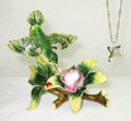 Hummingbird Jeweled Hinged Trinket Box w matching pendant