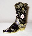 Western Cowboy Jeweled Black Boot Hinged Trinket Box
