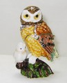 Mother Brown Owl with Baby Jeweled Hinged Trinket Box