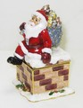 Santa Claus with Toy Sack on Chimney Jeweled Trinket Box