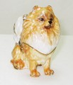 Pomeranian Dog Jeweled Hinged Trinket Box