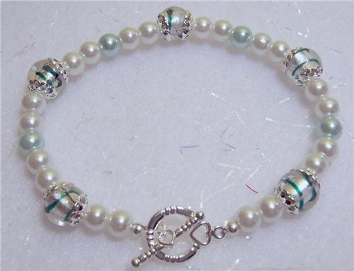 Glass Pearl Silver Bracelet Toggle Teal Bead