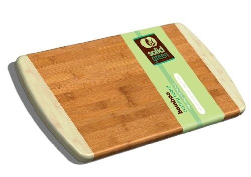 Solid Green Large Two Tone Bamboo Cutting Board by TruBamboo