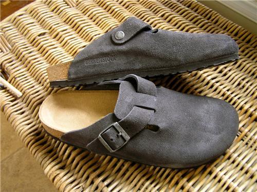 Birkenstock Boston Clogs Suede Leather Gray Sizechoice
