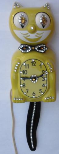 Kit Cat Klock Clock Model D8 Yellow Jeweled Kat With