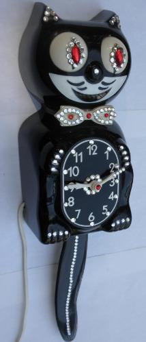 Kit Cat Klock Clock Model D8 Black Jeweled Kat Serviced