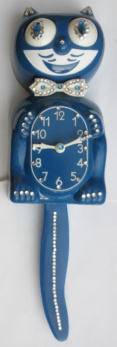 Kit Cat Klock Clock Model D8 Dark Blue Jeweled Kat