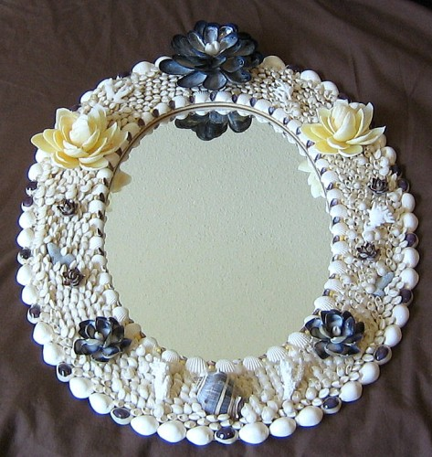 Seashell embellished oval mirror ocean blooms now for Embellished mirror frame