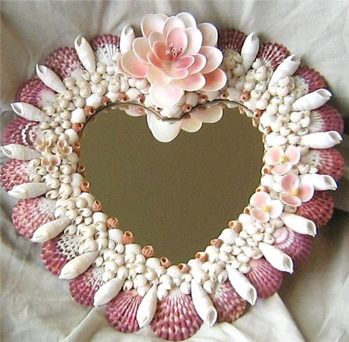 Sold heart shaped seashell craft mirror ocean blooms now for Large seashells for crafts