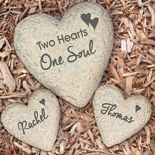 personalized wedding garden stone set engraved heart