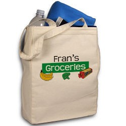 My Groceries Personalized Canvas Reusable Grocery Tote