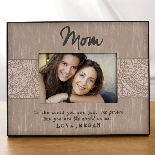 Personalized Mothers Day Picture Frame The World to Me Mom Photo Frame in 4 cols