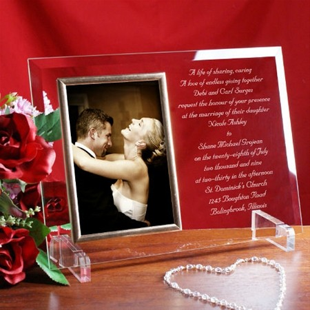 Wedding Engraved Photo Frames : Personalized Engraved Wedding Invitation Beveled Glass Picture Frame ...