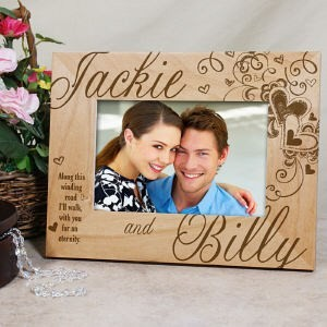 5 Year Wedding Anniversary Gifts For Couples : Personalized Love Hearts Picture Frame, Engraved Wood Valentines Photo ...
