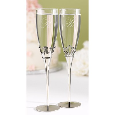 wedding toasting flutes king queen engraved champagne glasses