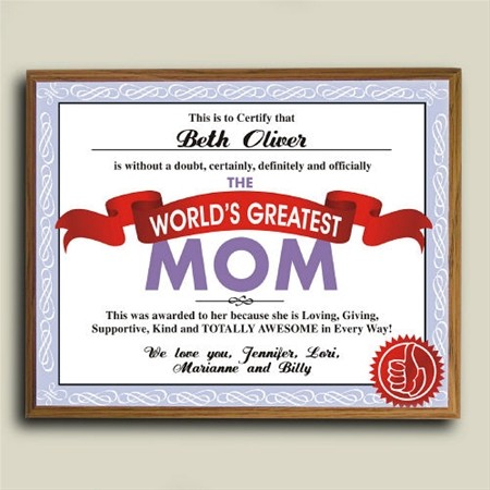 Personalized Mother's Day Plaque, worlds greatest Grandma or Mom Plaque