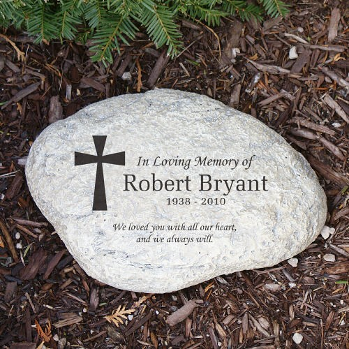 personalized memorial garden stone engraved cross in