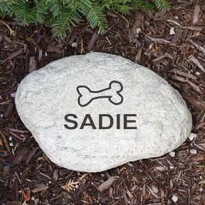 Personalized Dog Bone Garden Stone Engraved Dog Name Garden Yard Stone Marker