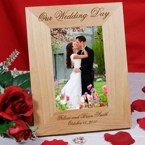 Engraved Picture Frames Wedding Favors : Our Wedding Picture Frame Engraved Wood Wedding Photo Frame ...