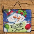 Personalized Snow Couple Welcome Slate Plaque Family Name Christmas Welcome Sign