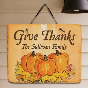Personalized Give Thanks Welcome Sign Pumpkin Fall Family Name Slate Wall Plaque