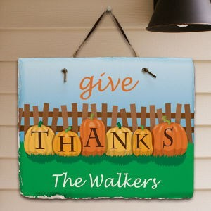 Personalized Thanksgiving Welcome Sign Pumpkin Family Name Slate Wall Plaque