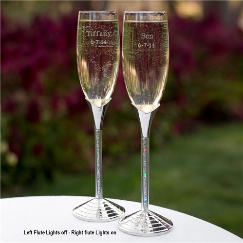 Personalized led lighted wedding flutes led glitter stems champagne glasses - Flute a champagne led ...
