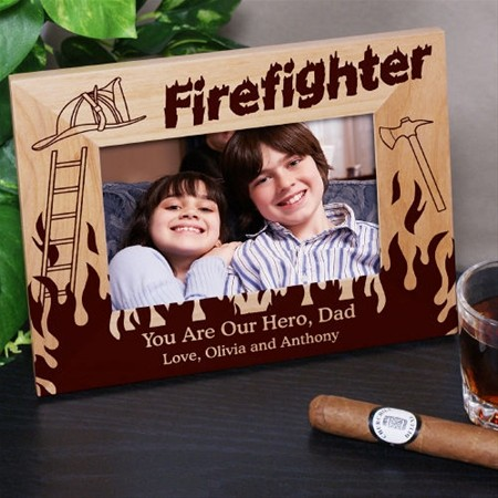 Personalized Firefighter Picture Frame, Wood Fire Fighter Photo Frame