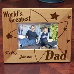 Personalized Worlds Greatest Dad Picture Frame, Engraved Fathers Day photo Frame