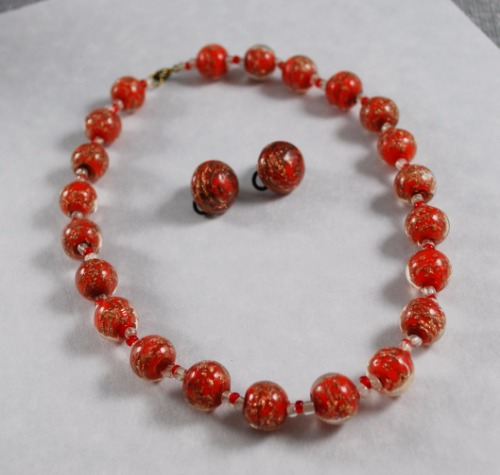 Orange Gold Swirl Glass Beads Set 1