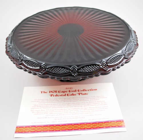 Avon 1876 Cape Cod Collection Red Glass Pedestal Cake