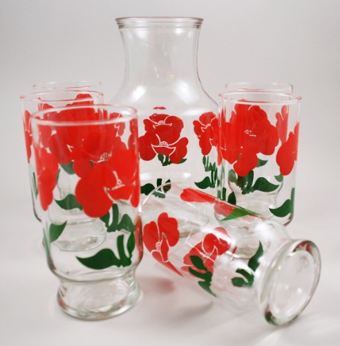 Anchor Hocking Red Foxy Carafe Tumblers 3