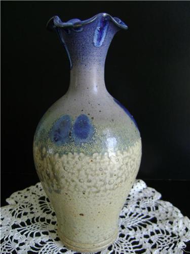North Carolina Cagle Rd Pottery Blue and Tan Vase