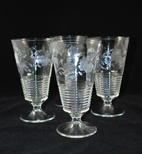 vintage crystal floral etched set of 4 glass water goblets - Water Goblets