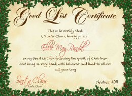 Letter From Santa - Good List Certificate