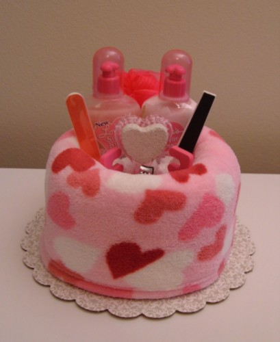 Pink Hearts Spa Wrap Cake - Front View.jpg