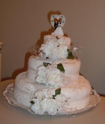 Wedding Towel Cake with Bath Towels Wedding Cake Heather C jpg