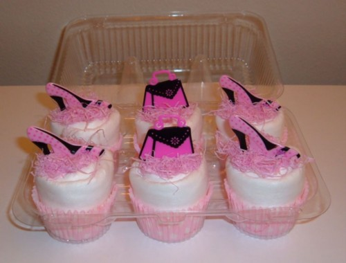 Girlie Girl Pink Shoes & Purses Cupcake 6 pack.jpg