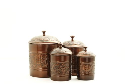 Versailles Antique Copper 4pc Canister Set - The Charming Home Store