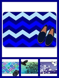 Blue color theme doormats