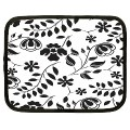 Black white floral 12-inch netbook case