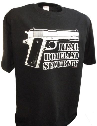 6e03b3f264 Real Homeland Security Colt 45 Auto Tea Party Pro Gun Firearms Tee Shirt - Achtung  T Shirt WW2 Military T Shirts and Pro Gun T Shirts