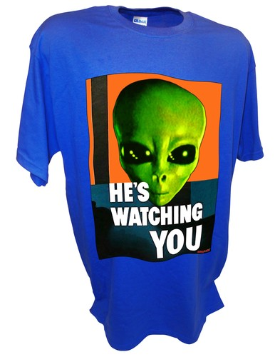 Alien Hes Watching Paranormal Area 51 Ufo x files t shirt blue.jpeg