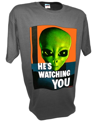 Alien Hes Watching Paranormal Area 51 Ufo x files t shirt gray.jpeg
