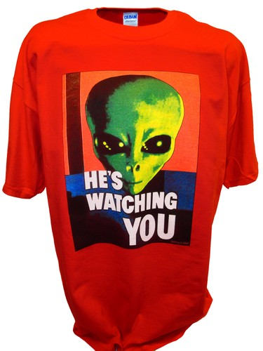 Alien Hes Watching Paranormal Area 51 Ufo x files t shirt red.jpeg