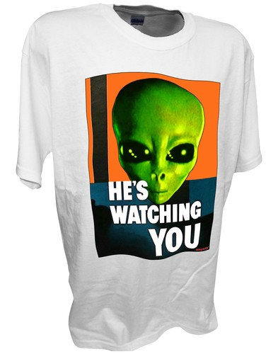 Alien Hes Watching Paranormal Area 51 Ufo x files t shirt white.jpeg