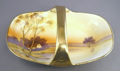 Hand Painted Noritake Candy Nut Dish With Handle Japan 1911 1921 Maimeo S Memories