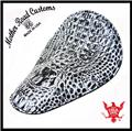 11x14 Black And White Alligator Leather Seat Chopper Bobber Harley Sportster