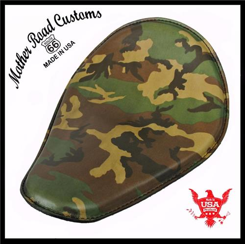 10x13 Quot Woodland Camo Leather Spring Solo Seat Chopper