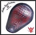 11x14 Cherry Alligator Leather Spring Seat Chopper Bobber Harley Sportster